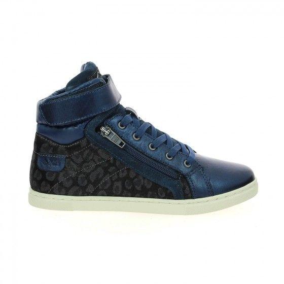 Baskets montantes fille bleu et imprimé léopard PALLADIUM VELEDA LEO - Bessec-chaussures.com