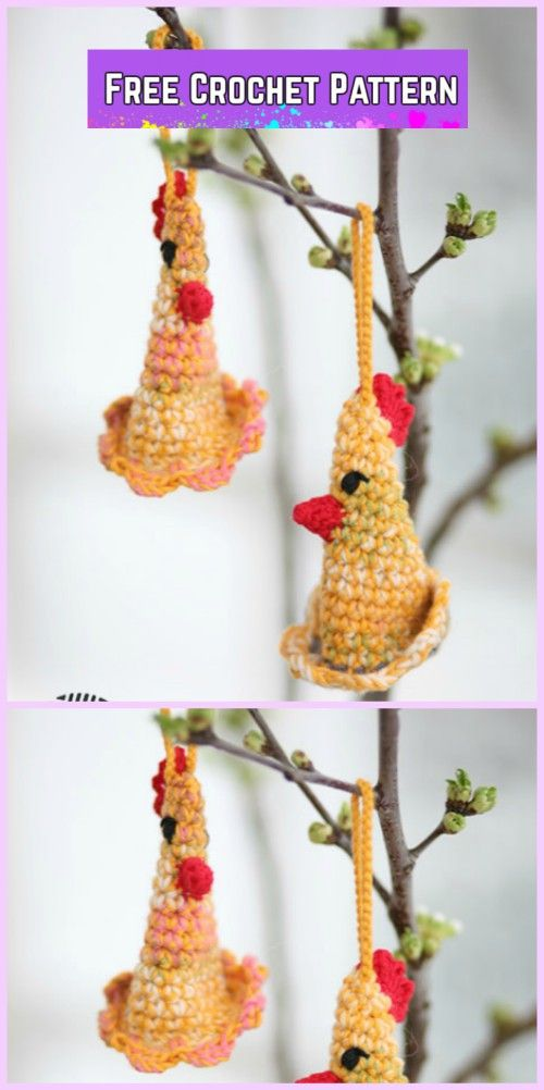 Easter Crochet Chicken Free Patterns- Crochet DROPS Easter chickens Free Pattern