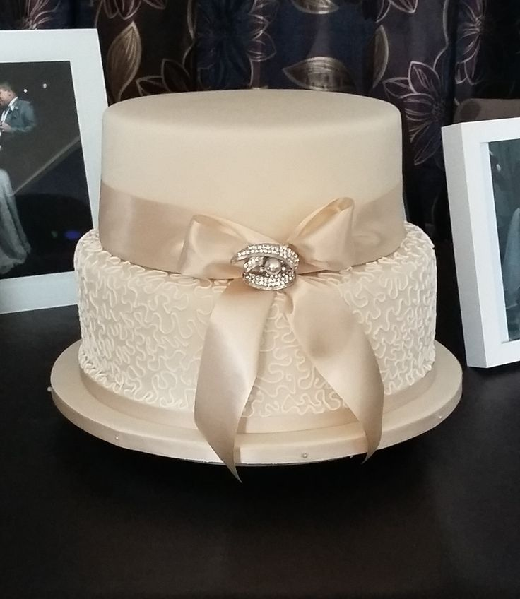 Ivory and White Chantilly Lace 2 tier wedding cake - beautifully classic!