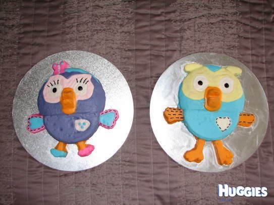 Matching Hoot & Hootabelle cakes for our twins 2nd Birthday.