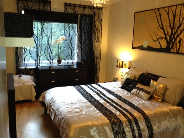 Small Master Bedroom New Bed Lining In Cream Black And Gold Accent I Have Done This Room Mostly On A Budget The Furnitures Are Not Expensive Exc