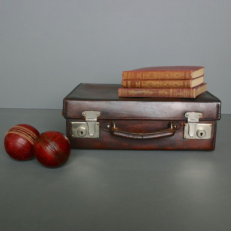 Vintage Leather Vanity Case - Circa 1920's - Brown Leather Gentleman's Suitcase from England by FanshaweBlaine on Etsy