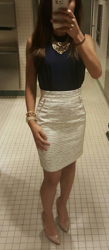 LOVE love love the color/pattern, zipper details, and waist of this skirt. The top has a great cut and fit and the jewelry compliments it all perfectly.