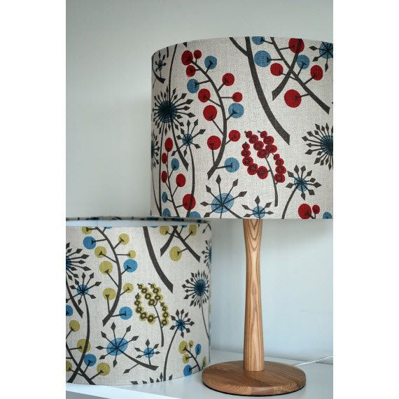 Handmade drum lampshade in Hedgerow by Angie Lewin by RevillRevill