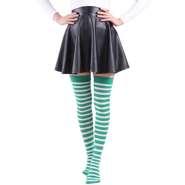 HDE Women's Plus Size Striped Stockings Thigh High Over the Knee OTK... ($6.99) ❤ liked on Polyvore featuring intimates, hosiery, tights, plus size white stockings, white tights, plus size striped tights, green striped tights and sheer tights