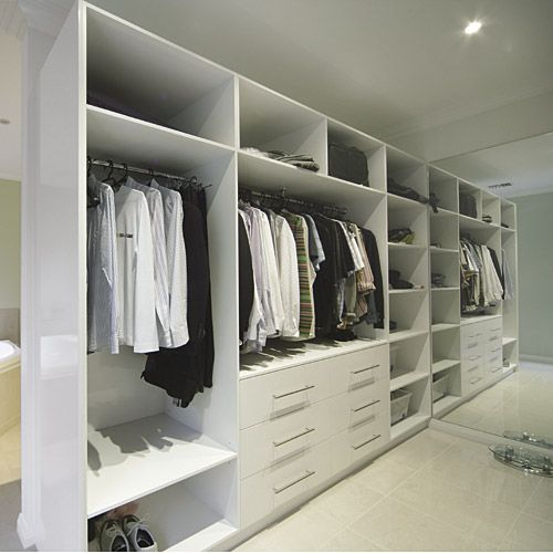 Stegbar walk-in robe design. Hanging draws shoes, one side me, other D.