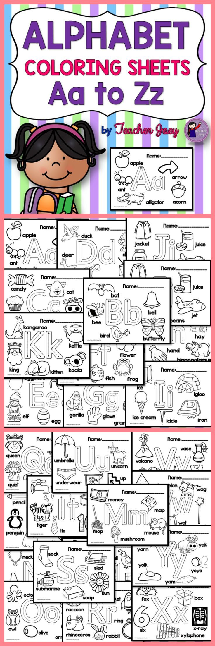 Alphabet Coloring Sheets Alphabet Letter Aa To Zz  This alphabet coloring sheets set is for Aa to Zz. It includes 29 pages with images and words beginning with the alphabet Aa - Zz.