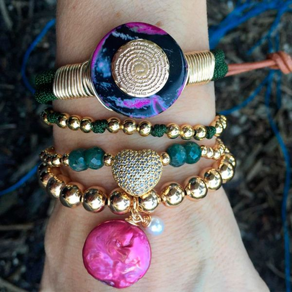 Set By Vila Veloni Multicolor Amazing Stone And Cute Pink Stone