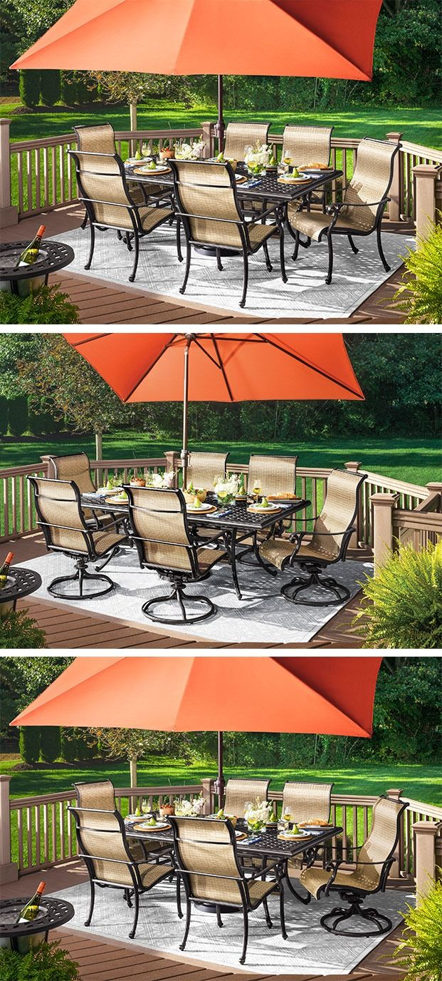 Dine outdoors in style with the Moreaux 7-piece outdoor dining set. Its cast aluminum table has the beautiful look of wrought iron yet is lighter in weight as well as corrosion-resistant for durability through the seasons. Swivel and stationary sling chairs add timeless transitional style to the set while providing a more casual look and feel.