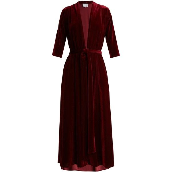 Luisa beccaria Deep V-neck tie-waist velvet midi dress (£1,340) ❤ liked on Polyvore featuring dresses, luisa beccaria, burgundy, v neck midi dress, velvet dress, red dress, tie waist dress and burgundy velvet dresses