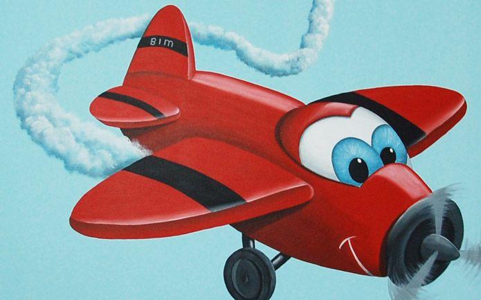Vrolijk vliegtuigje kinderkamer muurschildering, met jongensnaam op de muur. Ontwerp en realisatie door BIM Muurschildering.