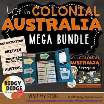 Life in Colonial Australia: This bundle includes the following products (please click on these links for a more thorough preview of what is included in each resource): - Life in Colonial Australia Lapbook Activities and Unit Plan - Life in Colonial Australia Informative Powerpoint - Life in Colonial Australia Word Wall - Australia's Colonial History Timeline Classroom Decor...