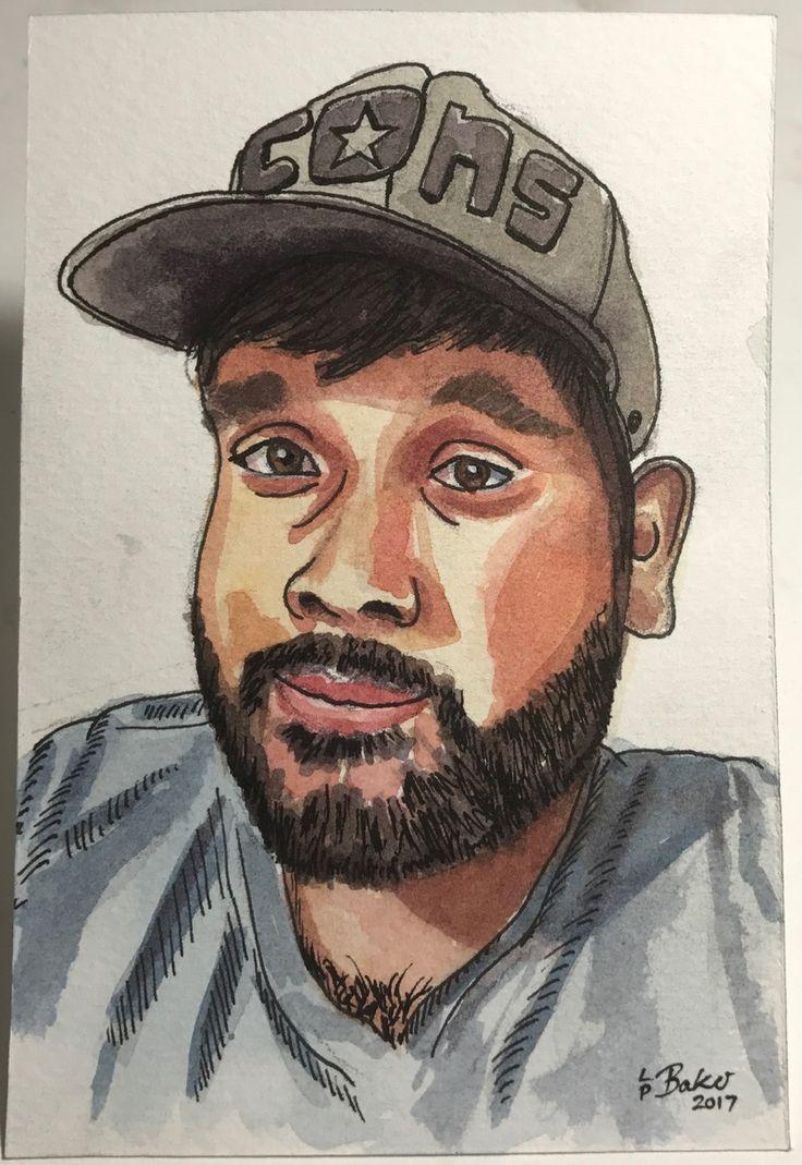 """Portrait of Nicholas, pen and watercolour on paper, 4x6"""". #portrait #watercolor #watercolour #penandwash"""