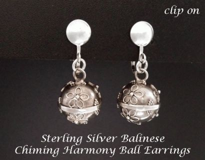 Clip On Earrings with Sterling Silver Harmony Balls, Antiqued  - Fabulous Sterling Silver Artisan crafted earrings with Antiqued finish Balinese Harmony Balls that produce a very soft chime with movement and fitted with excellent quality comfortable 925 Sterling Silver clips - quite spectacular on. #earrings #fashion #gifts #style #cliponearrings #clipon #silverearrings #silverjewelry #silver #jewelry #jewellery #mothersday