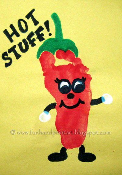 Footprint Chili Pepper {Cinco de Mayo Craft} - Fun Handprint Art. Did this one with the kiddies. So CUTE!