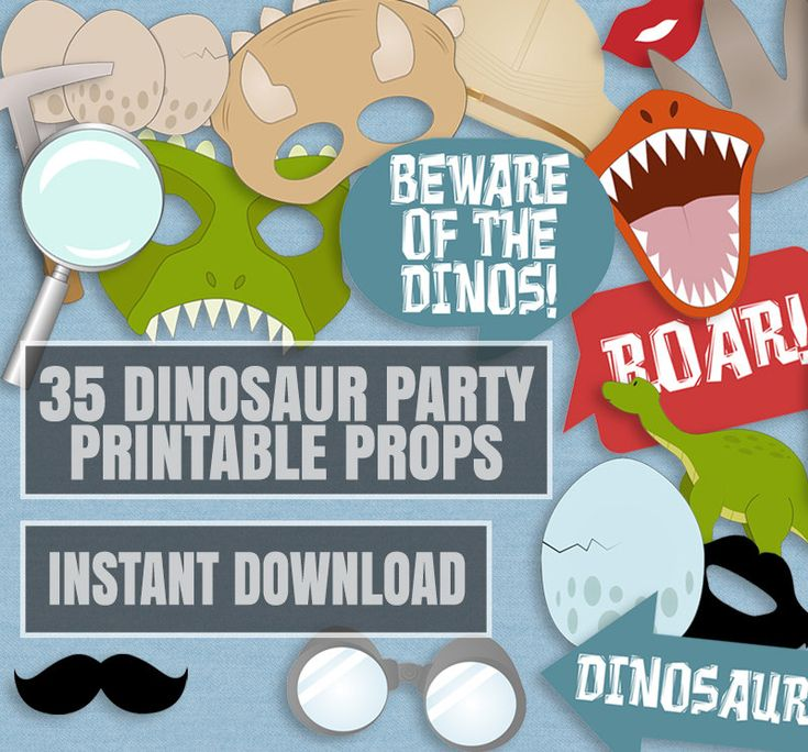 35 Dinosaur Party Photo Booth Props, Dinosaur themed party props, love dinos…