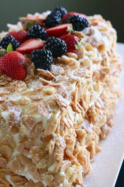 This is recipe for Muchas Leches Cake w/sugared almonds from Annie's Eats