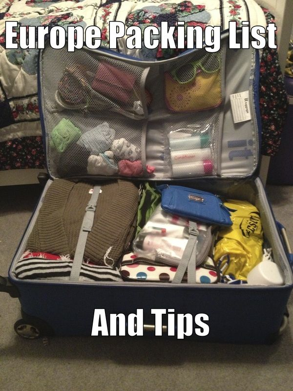 Packing tips and list for traveling Europe.