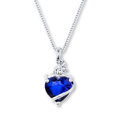 Blue & White Lab-Created Sapphire Sterling Silver Necklace jared.com 59.99