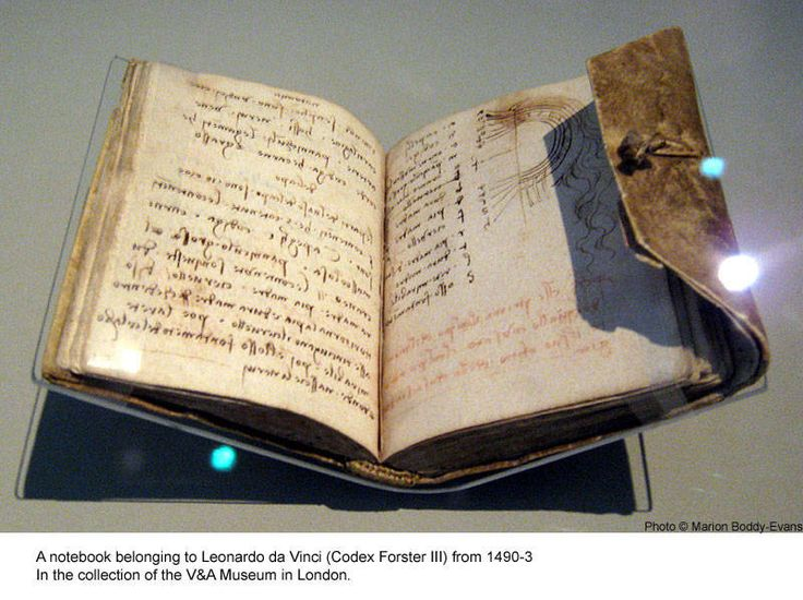 Leonardo da Vinci notebook (Codex Forster III) from 1490-3 in the collection of the V Museum in London.