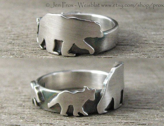 Caleb needs one of these.  He and Georgia read a book about a daddy bear and a baby bear every night Papa bear ring  Father's Day jewelry  father ring  animal by prox, $110.00