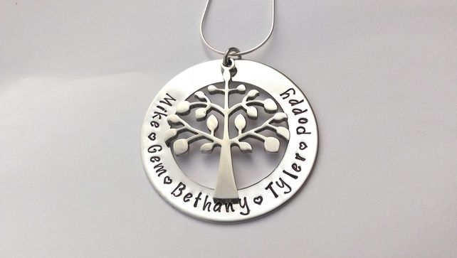 Hand Stamped personalised family tree name necklace £21.00