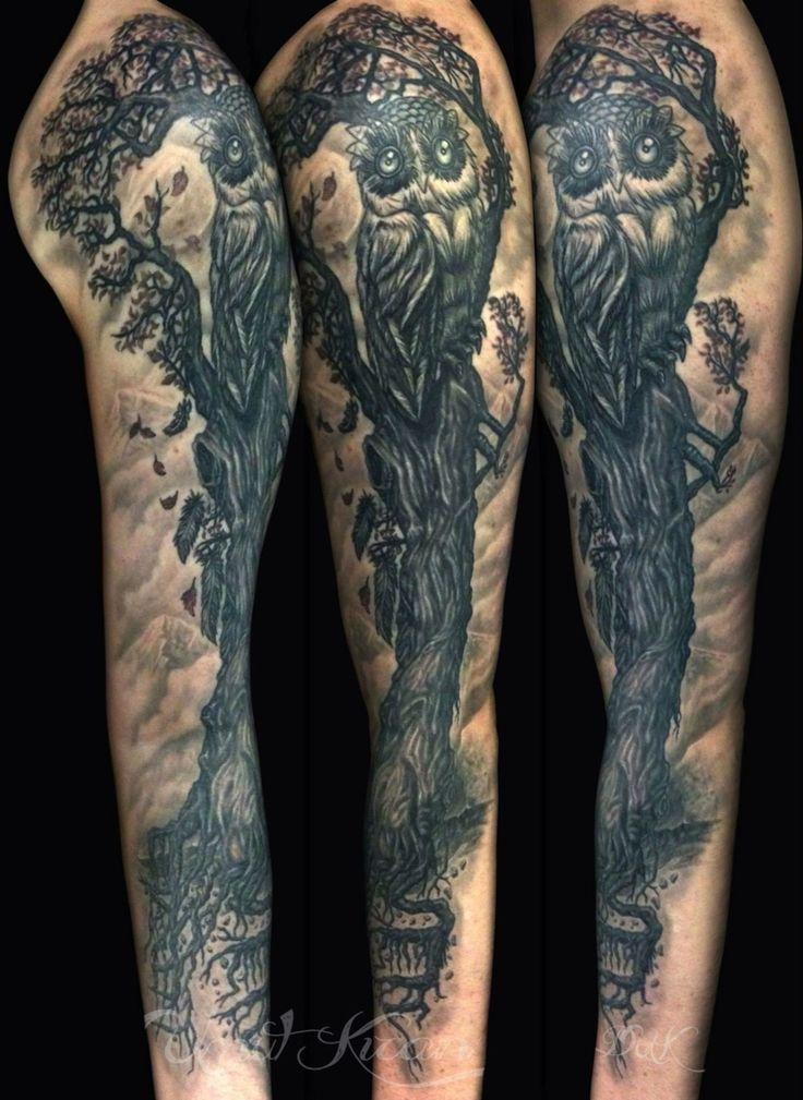 Coverupscars owltattoo treetattoo Istanbul Turkey Dreamtattoostudio freehand healed tattoo