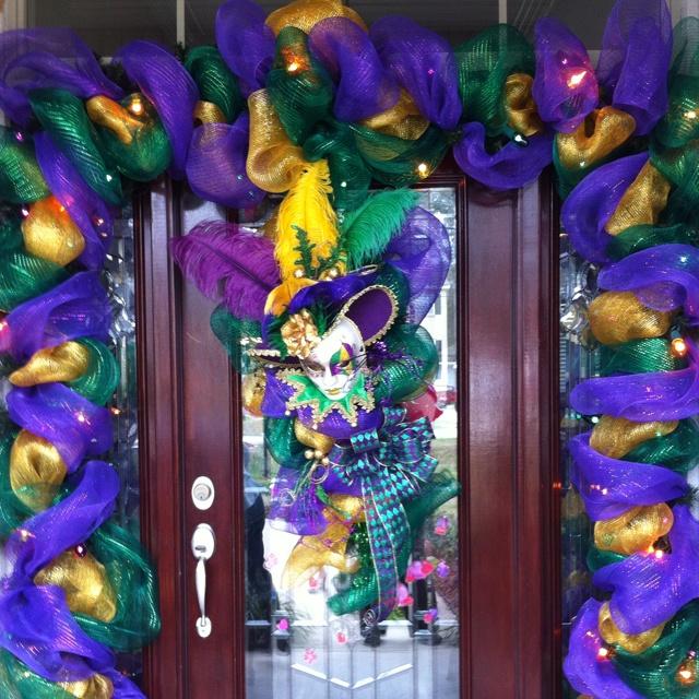 Door Decoration With Wreath For Mardi Gras