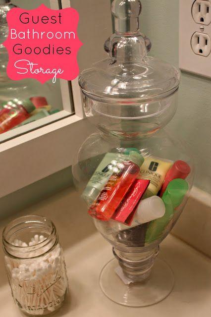 Use a pretty jar to store travel size items for your guest bathroom! {PERFECT for guests!!}