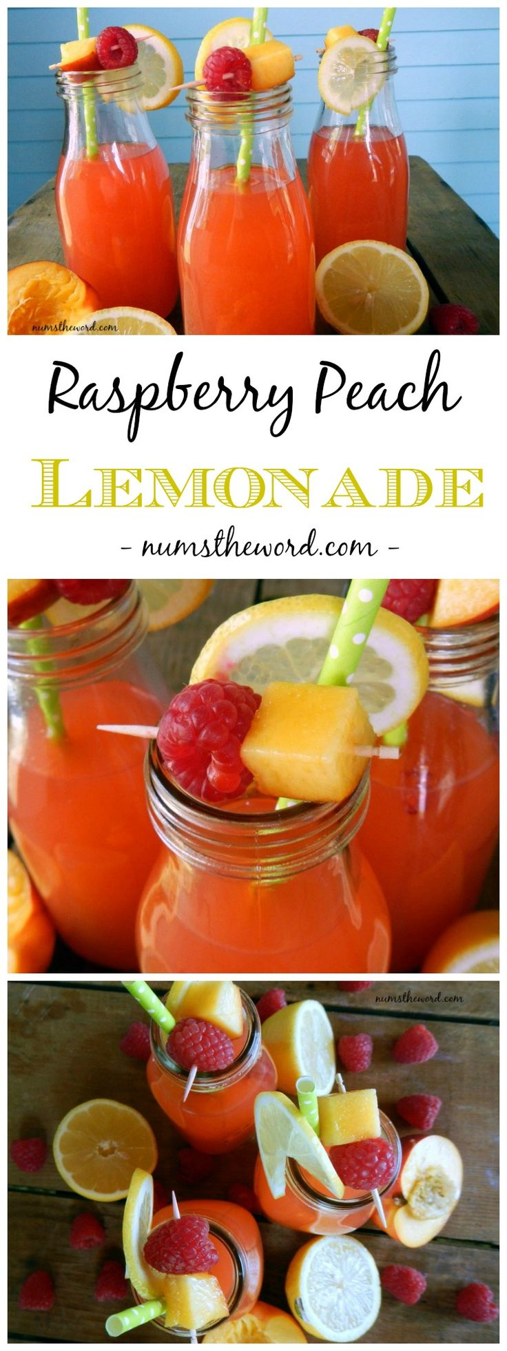 A refreshingly sweet & tangy lemonade that is easy to make and always a hit! This raspberry peach lemonade is homemade with real fruit juices! Feel free to substitute nectarines for peaches but don't skip out on the raspberries! #raspberry #peach #lemonade