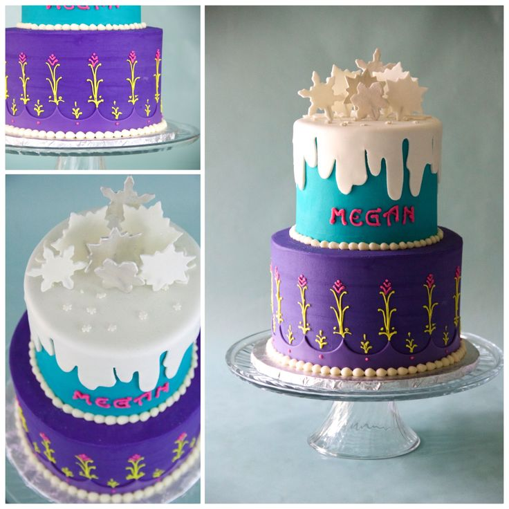 Anna Frozen cake! purple and teal