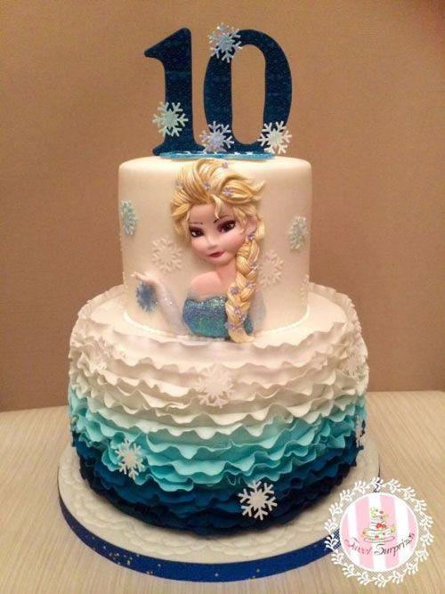 Torta di Frozen con decorazioni in pasta di zucchero n.54