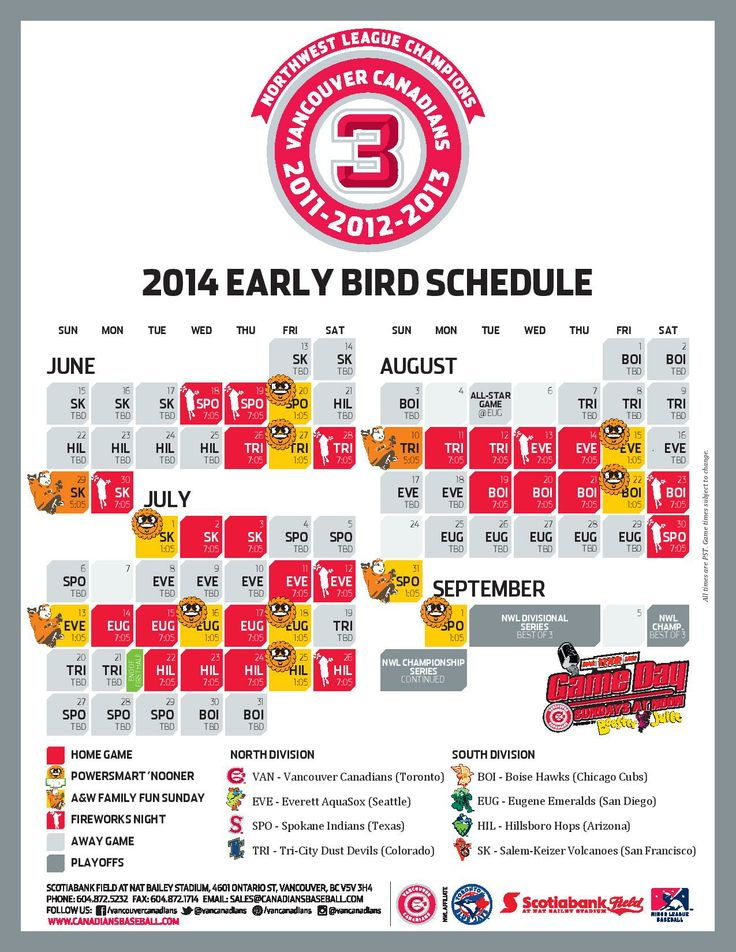 The Vancouver Canadians 2014 Schedule