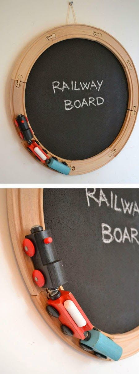 Boy Bedroom Decorating Ideas - use brio like pieces to create a lovely chalk board. You could also pad & cover the centre with a 'train' fabric & use as a noticeboard.