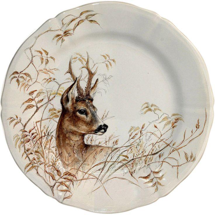 Gien Sologne Dessert Plate Deer