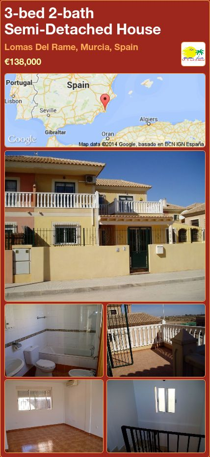 3-bed 2-bath Semi-Detached House for Sale in Lomas Del Rame, Murcia, Spain ►€138,000
