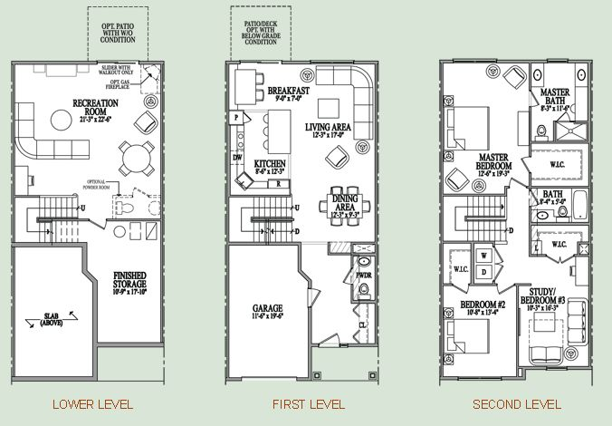 Three story condo floor plan my home pinterest three Townhouse plans with garage