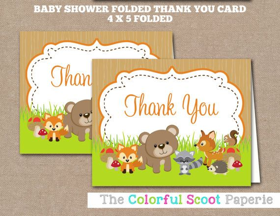 printable woodland baby shower thank you card baby shower thank you cards woodland thank