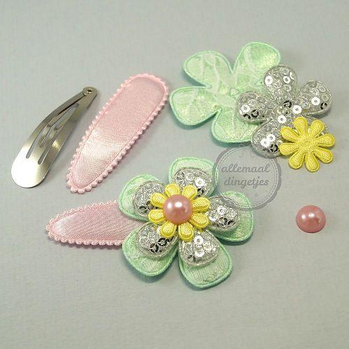 Zelfmaakpakket haarspeldjes (L) roze lichtgeel mint zilver (1 paar)