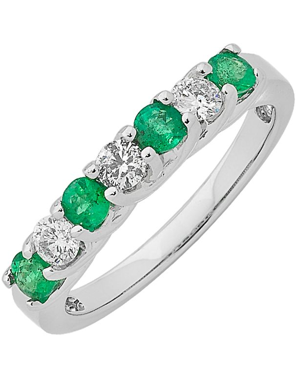 Emerald Ring White Gold Emerald & Diamond Ring