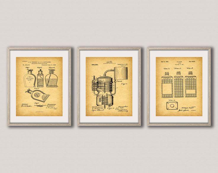 Whiskey Christmas Gift Set of Whiskey Patent Prints ...