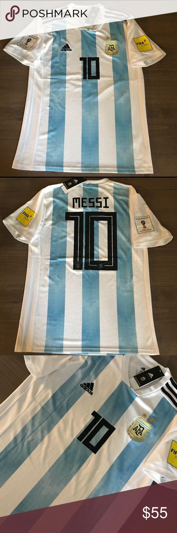 Argentina Messi #10 Men Adidas jersey 17/18 Argentina Messi #10 17/18 National team Soccer jersey Russia World Cup 2018 Men Adidas adidas Shirts Tees - Short Sleeve