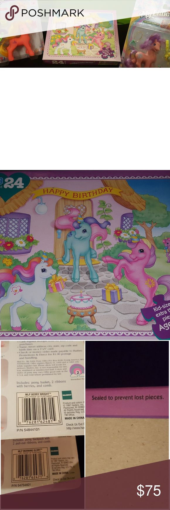 Vintage Gen2 My Little Pony Lot Very cool gen 2 mlp lot. All 3 items new in box/package. Puzzle is still factory sealed.  All items are dated 1997. Smoke and odor/mildew free home. hasbro Other