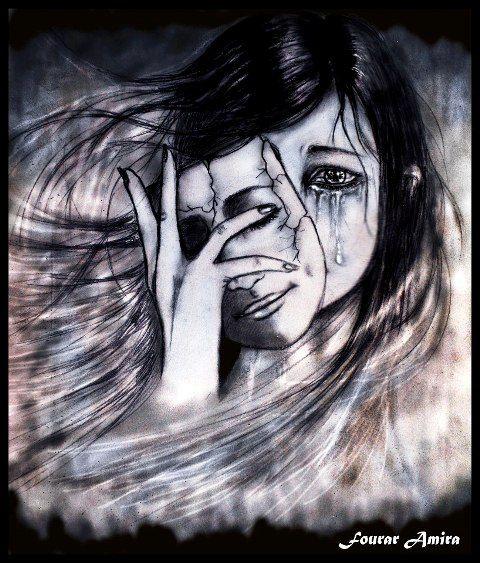 hiding behind a smile_pencil art