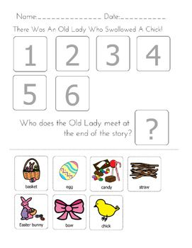 """Great+for+Spring+and+Easter+activities!++Here+is+an+activity+to+supplement+the+book+""""There+Was+An+Old+Lady+Who+Swallowed+a+Chick.""""+Interactive+way+to+have+students+participate+in+story+time+with+reading+comprehension+elements.+Simply+have+students+cut+and+paste+pictures+in+the+order+of+the+story!"""