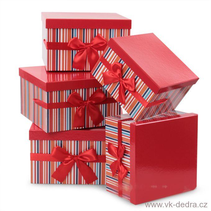 Dedra Úložné boxy červené pruhy čtverec Sada 5 ks
