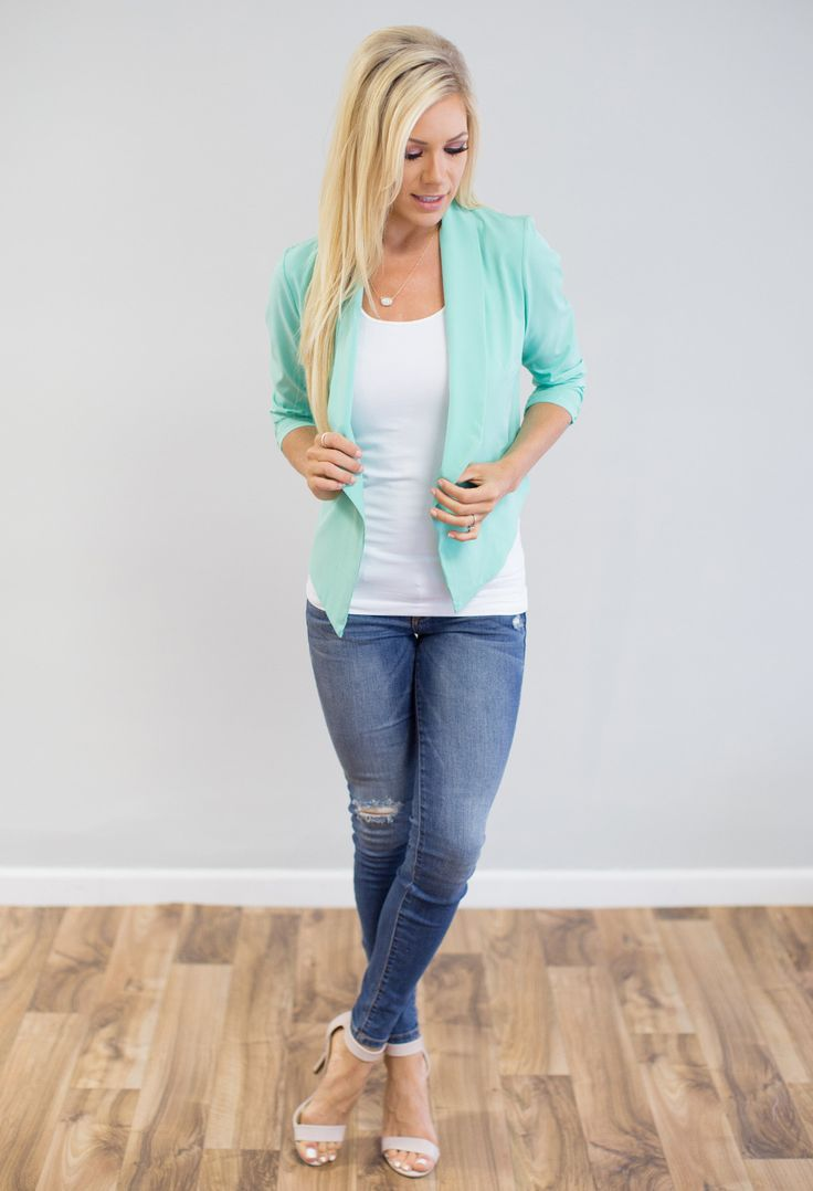 Steal Me Away Blazer - Mint Blazer - Office Outfit