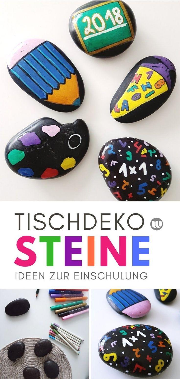 Dekoidee zur Einschulung: DIY Tischdeko aus bemalten Steinen