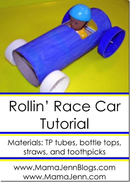 Rolling Race Car Tutorial: race car made from a TP toilet paper tube that really rolls