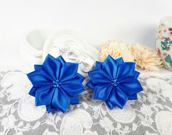 Blue satin ribbon flowers blue fabric flowers applique by Rocreanique